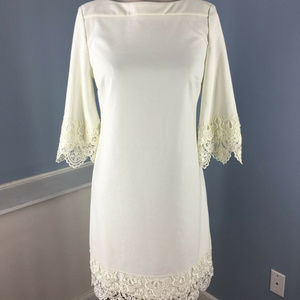 Beige ECI S 6 White Ponte Knit shift dress Lace